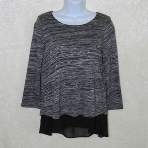 A&F Heather Sheer Layered Quarter Sleeve Sweater